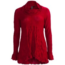 Sno Skins Crinkle Pointelle Tunic Shirt - Long Sleeve (For Women) in Crimson - Closeouts