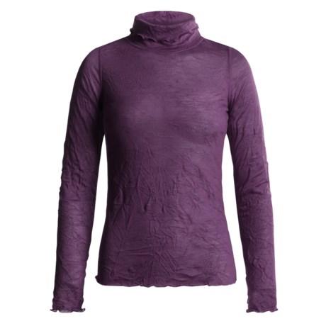 Sno Skins Crinkle Pointelle Turtleneck - Long Sleeve (For Women) in Amethyst