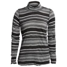 Sno Skins Crinkle Pointelle Turtleneck - Long Sleeve (For Women) in Black Lurex Stripe - Closeouts