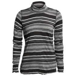 Sno Skins Crinkle Pointelle Turtleneck - Long Sleeve (For Women) in Black Lurex Stripe