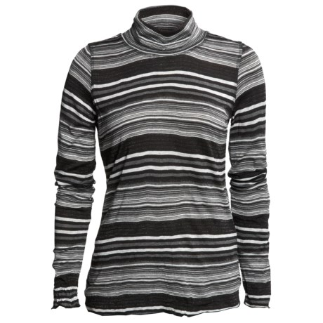 Sno Skins Crinkle Pointelle Turtleneck - Long Sleeve (For Women) in Charcoal