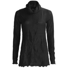 Sno Skins Crinkle Pointelle Turtleneck - Long Sleeve (For Women) in Black - Closeouts