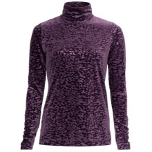 Sno Skins Embossed Plush Tech Velvet Turtleneck - Long Sleeve (For Women) in Eggplant - Closeouts