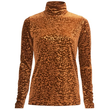 Sno Skins Embossed Plush Tech Velvet Turtleneck - Long Sleeve (For Women) in Sienna