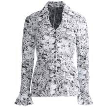 Sno Skins Etched Floral Jacquard Shirt - Long Sleeve (For Women) in White/Black - Closeouts