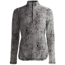 Sno Skins Leopard Denim Stretch Knit Shirt - Zip Neck, Long Sleeve (For Women) in Grey Denim - Closeouts
