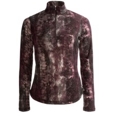 Sno Skins Lurex® Print Shirt - Zip Neck, Long Sleeve (For Women) in Merlot - Closeouts