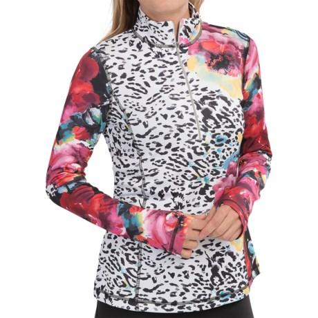 Sno Skins Microfiber Print Shirt - Zip Neck, Long Sleeve (For Women) in Jungle