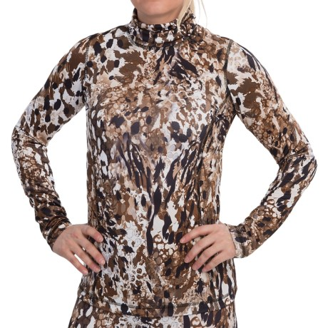 Sno Skins Microfiber Print Turtleneck - Long Sleeve (For Women) in Rocky Road