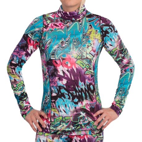 Sno Skins Microfiber Print Turtleneck - Long Sleeve (For Women) in Urban Art