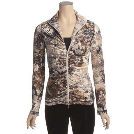 Sno Skins Microfiber Ruched Zip Jacket (For Women) in Papyrus