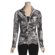 Sno Skins Microfiber Ruched Zip Jacket (For Women) in Winter Cat - Closeouts