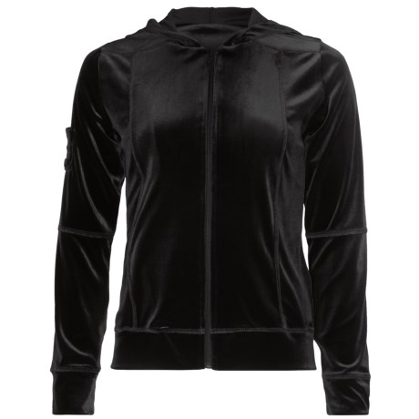 Sno Skins Plush Tech Velvet Jacket - Attached Hood (For Women) in Charcoal