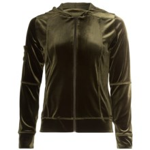 Sno Skins Plush Tech Velvet Jacket - Attached Hood (For Women) in Olive - Closeouts