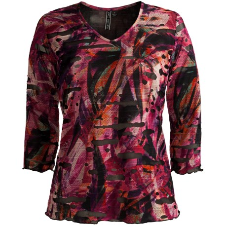 Sno Skins Textured Ripple Effect Shirt - Burnout Fabric, 3/4 Sleeve (For Women) in Autumn Berry