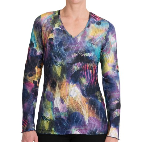 Sno Skins Textured Ripple Effect Shirt - Burnout Fabric, 3/4 Sleeve (For Women) in Cosmic