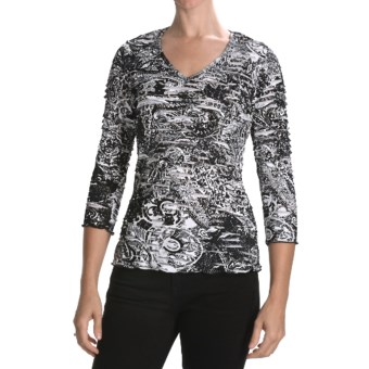 Sno Skins Textured Ripple Effect Shirt - Burnout Fabric, 3/4 Sleeve (For Women) in Etched