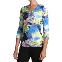 Sno Skins Textured Ripple Effect Shirt - Burnout Fabric, 3/4 Sleeve (For Women) in Watercolor - Closeouts