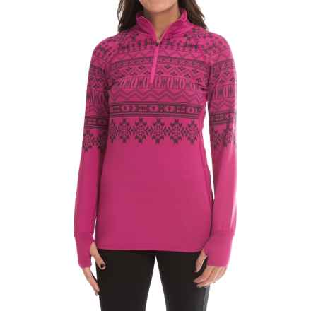 Snow Angel Chami Graphic Base Layer Top - Zip Neck, Long Sleeve (For Women) in Cherry - Closeouts