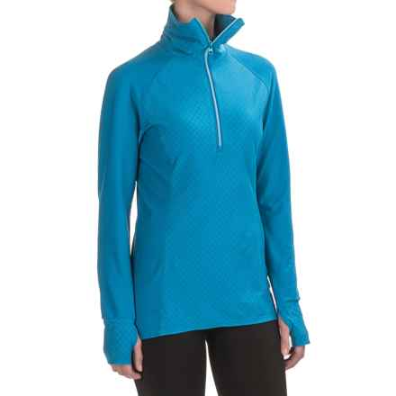 Snow Angel Doeskin Diamond Duchess Turtleneck - Zip Neck, Long Sleeve (For Women) in Azul - Closeouts