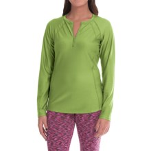 Snow Angel Doeskin Henley Base Layer Top - Zip Neck, Long Sleeve (For Women) in Aloe - Closeouts