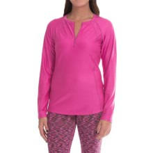 Snow Angel Doeskin Henley Base Layer Top - Zip Neck, Long Sleeve (For Women) in Hibiscus - Closeouts