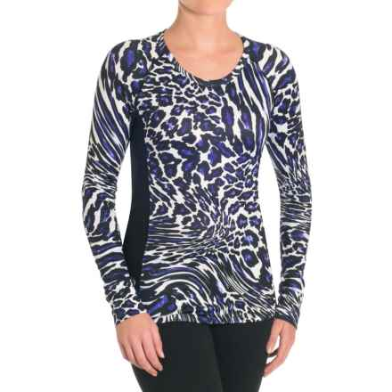 Snow Angel Post Modern Print Slimline Base Layer Top - Long Sleeve (For Women) in Blue Leopard - Closeouts