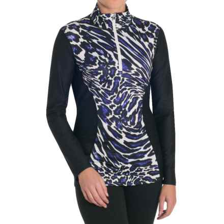 Snow Angel Post-Modern Slimline Base Layer Top - Zip Neck, Long Sleeve (For Women) in Blue Leopard - Closeouts