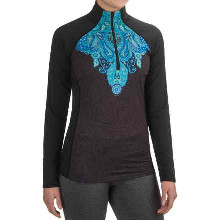Snow Angel Veluxe Power Paisley Base Layer Top - Zip Neck, Long Sleeve (For Women) in Black Viridan - Closeouts