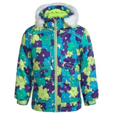 Snow Dragon Nova Ski Jacket (For Little Girls) in Purple Sweet Pea Print - Closeouts