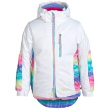 Snow Dragon Solstice Ski Jacket (For Little Girls) in White/Pixie Print - Closeouts