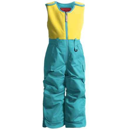 Snow Dragons Bailey Snow Bib Overalls - Insulated (For Little Girls) in Blue Jewel/Limeade - Closeouts
