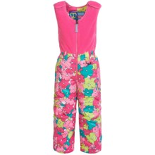 Snow Dragons Bailey Snow Bib Overalls - Insulated (For Little Girls) in Pink Sweet Pea Print - Closeouts