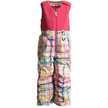 Snow Dragons Bailey Snow Bib Overalls - Insulated (For Little Girls) in Rainbow Plaid/Pink Flamingo - Closeouts