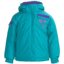 Snow Dragons Double Back Jacket - Insulated (For Little Girls) in Turquoise Radiance/Purple Berry/Pink Dazzle - Closeouts