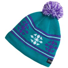 Snow Dragons Knit Beanie Hat with Pom - Fleece Lining (For Girls) in Turquoise Radiance - Closeouts