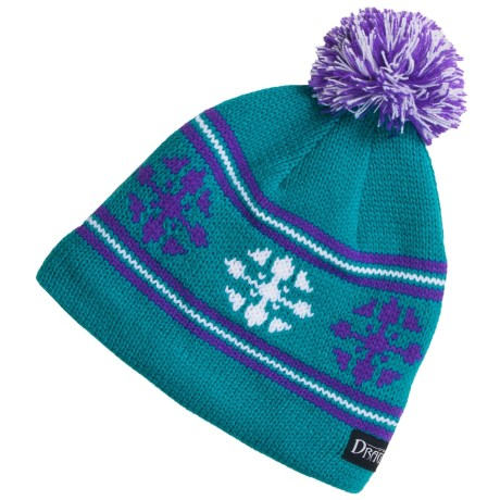 Snow Dragons Knit Beanie Hat with Pom - Fleece Lining (For Girls) in Turquoise Radiance