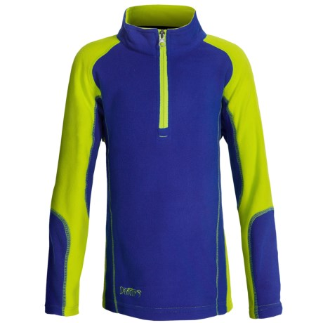 Snow Dragons Mason Microfleece Jacket - Zip Neck (For Little Boys) in Blue Frenzy/Lime