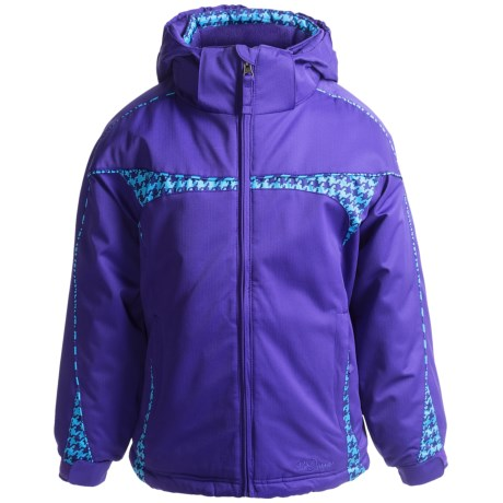 Snow Dragons Peppy Jacket - Insulated (For Little Girls) in Orchid/Topaz Houndstooth