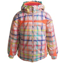 Snow Dragons Peppy Jacket - Insulated (For Little Girls) in Rainbow Plaid/Pink Flamingo - Closeouts