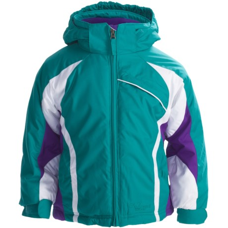 Snow Dragons Round Off Jacket - Insulated (For Little Girls) in Turquoise Radiance/Purple Berry/White
