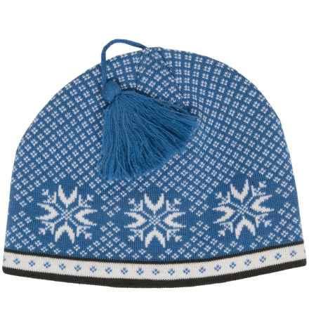 Snowflake Jacquard Beanie - Wool (For Women) in Bright Blue - 2nds