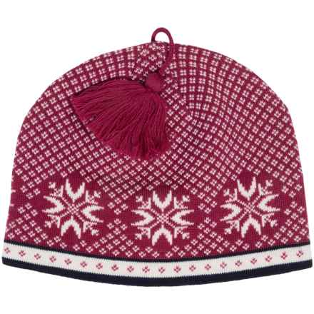 Snowflake Jacquard Beanie - Wool (For Women) in Deep Raspberry - 2nds