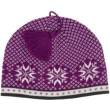 Snowflake Jacquard Beanie - Wool (For Women) in Purple Crocus - 2nds
