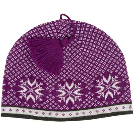 Snowflake Jacquard Beanie - Wool (For Women) in Purple Crocus - 2nds