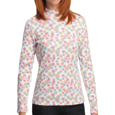 Snowflake Print MockTurtleneck - Cotton, Long Sleeve (For Women) in White Multi