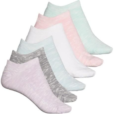 So-Soft Slub No-Show Socks - 6-Pack, Below the Ankle (For Women) - Light Pink (M ) -  Bearpaw