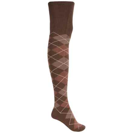 Sock It To Me Socks - Over the Knee (For Women) in Brown/Gold Argyle - Closeouts
