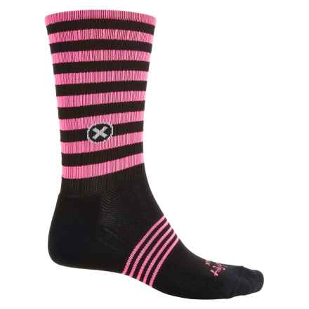 SockGuy Compression Fit Socks - Crew (For Men and Women) in Neon Black/Pink - Closeouts