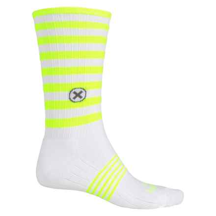 SockGuy Compression Fit Socks - Crew (For Men and Women) in Neon White/Yellow - Closeouts